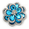 Clear/Azure Blue Diamante 'Flower' Corsage Brooch In Silver Plating - 4cm Diameter