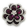 Clear/Purple Diamante 'Flower' Corsage Brooch In Silver Plating - 4cm Diameter