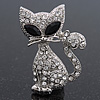 Cute Diamante 'Cat' Brooch In Silver Plating - 3.5cm Length