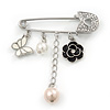 'Flower, Butterfly & Simulated Pearl Bead' Swarovski Crystal Safety Pin Brooch In Rhodium Plated Metal - 5cm Length