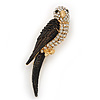Exotic Diamante Enamel 'Parrot' Bird Brooch In Gold Plating - 7cm L