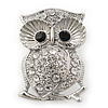 Rhodium Plated Crystal 'Owl' Brooch - 3.5cm Length