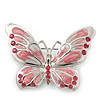 Pink Diamante Enamel 'Butterfly' Brooch In Rhodium Plating - 5cm Length