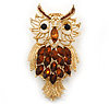 Oversized Rhodium Plated Filigree Amber Coloured Crystal 'Owl' Brooch - 7.5cm Length [B02367]