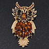 Oversized Rhodium Plated Filigree Amber Coloured Crystal 'Owl' Brooch - 7.5cm Length