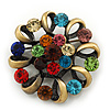 Vintage Multicoloured Wreath Brooch In Antique Gold Matt Finish - 4cm Diameter