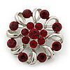 Red Crystal Wreath Brooch In Rhodium Plated Metal - 4cm Diameter