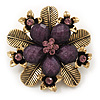 'Botanica' Flower Brooch In Antique Gold Finish Crystal/Stone (Purple) - 5.5cm Diameter