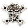 Diamante 'Skull & Crossbones' Brooch In Burn Silver - 4cm Length