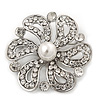 Bridal Clear Diamante 'Flower' Brooch In Rhodium Plating - 4.8cm Diameter