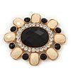 Huge Vintage Black/Cream Acrylic Diamante Oval Brooch In Gold Plating - 10cm Length