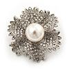 Clear Crystal Bridal 'Flower' Brooch In Rhodium Plating - 4cm Diameter