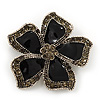 Black Enamel Ash Grey Crystal 'Daisy' Brooch In Silver Plating - 4.5cm Diameter
