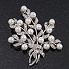 White Simulated Pearl/ Clear Crystal Floral Brooch In Rhodium Plating - 6cm Length