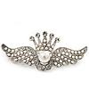 'Crown & Wings' Simulated Pearl/ Crystal Brooch In Rhodium Plating - 6cm Length