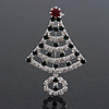 Green/Red/White Crystal 'Christmas Tree' Brooch In Silver Plating - 6cm Length