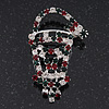 Green/Red/White Crystal 'Santa' Christmas Brooch In Silver Plating - 5.5cm Drop