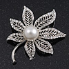 Exquisite Filigree Swarovski Crystal/Simulated Pearl 'Leaf' Brooch In Silver Plating - 5cm Length