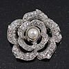 Romantic Swarovski Crystal 'Rose' Brooch In Silver Plating - 4cm Diameter