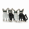 Black/White Enamel 'Happy Family Of Four Cats' Brooch In Rhodium Plating - 4.3cm Width