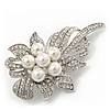 Bridal Swarovski Crystal Faux Pearl Floral Brooch In Rhodium Plating - 7cm Length