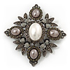 Swarovski Crystal Pearl Style Corsage Brooch In Gun Metal Finish - 6cm Length