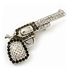 Rhodium Plated Diamante &#039;Revolver&#039; Brooch - 5cm Width
