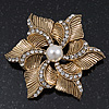 Vintage Textured Diamante, Pearl &#039;Flower&#039; Brooch In Burn Gold Tone - 5cm Diameter
