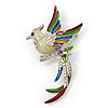 Multicoloured Enamel Diamante 'Bird' Brooch In Rhodium Plating - 6.5cm Length
