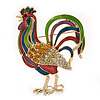 Multicoloured Enamel Diamante &#039;Rooster&#039; Brooch In Gold Plating - 6cm Length