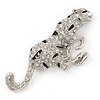 Large Diamante 'Snow Leopard' Brooch In Rhodium Plating - 85mm Across