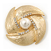 Vintage Textured Diamante, Simulated Pearl Corsage Brooch In Gold Plating - 4.5cm Diameter