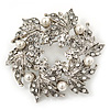 Clear Crystal, White Simulated Pearl Wreath Brooch In Rhodium Plating - 4cm Diameter