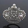 Clear & AB Crystal, Simulated Pearl 'Queenie' Crown Brooch In Rhodium Plated Metal - 5cm Length