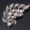Bridal Clear Diamante, White Simulated Pearl Floral Brooch In Rhodium Plating - 7cm Length