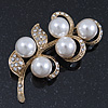 Vintage Diamante, Pearl Floral Brooch In Gold Plating - 6.5cm Length