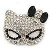Pave Set Swarovski Crystal Cat Mask Brooch In Rhodium Plating - 5cm Width