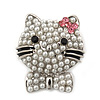 Cute Simulated Pearl Bead 'Cat With Pink Crystal Bow' Brooch In Rhodium Plating - 25mm Length