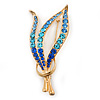 Gold Plated Diamante Fancy Brooch (Sky Blue, Azure, Sapphire Blue) - 55mm Length