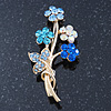 Sky Blue/ Azure/ AB Crystal 'Bunch Of Flowers' Brooch In Gold Plating - 50mm Length