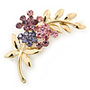 Purple Diamante Floral Brooch In Gold Plating - 50mm Length