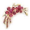 Pink Crystal Double Flower Brooch In Gold Plating - 55mm Length