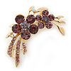 Amethyst Crystal Double Flower Brooch In Gold Plating - 55mm Length