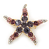 Purple/Pink/ Clear Crystal 'Starfish' Brooch In Gold Plating - 48mm Width