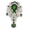 Statement Emerald Green/ Clear CZ Crystal Charm Brooch In Rhodium Plating - 11cm Length