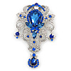 Statement Sapphire Blue Coloured/ Clear CZ Crystal Charm Brooch In Rhodium Plating - 11cm Length