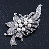 White Simulated Pearl, Clear Crystal Floral Brooch In Rhodium Plating - 67mm Length