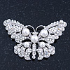Simulated Pearl, Swarovski Crystal 'Butterfly' Brooch In Rhodium Plated Metal - 65mm Width