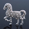 Rhodium Plated Textured Crystal 'Horse' Brooch - 55mm Width