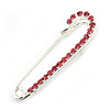 Small Pink Crystal Scarf Pin Brooch In Rhodium Plating - 40mm Width